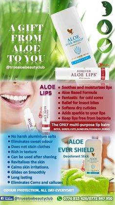 Aloe Ever-Shield Deodorant Stick provides effective, all-day protection against underarm odor and can be applied directly after showering or waxing without stinging. Aloe Ever-Shield glides on smoothly, does not stain clothes, and maximizes the deodorant properties of Aloe Vera. Available in over 160 countries in the world.