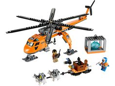 Fly to assist the explorer with his husky sled in the LEGO® City Arctic Helicrane!