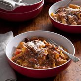 Slow Cooked Beef Ragu with Rigatoni- This recipe was time consuming but delicious. If your family love rich beef meals, than this is for you.     I added a fair bit of extra pepper and a little salt.