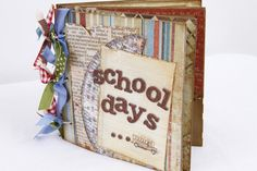 """This """"one of a kind"""" 6x6 """"School"""" inspired mini scrapbook album is 100% handmade. There are a total of 5 pages, 10 front and back. Each page is fully embellished with high quality paper that is handcut, distress inked and adorn with photo mats,hand cut embellishments, flowers, ribbon, journaling tags and much more!"""