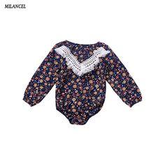 Milancel Autumn Baby Girls Clothes Floral Bodysuit Long Sleeve Jumpsuit Tassel Cute Outfits Sunsuit Clothing Baby Girls Clothes #Affiliate
