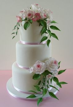 Edible Sugar Flowers - Large Set - 10 Roses + 10 Cherry flowers + 5 Hydrangeas + 7 Leaves + 8 Foliage - Wedding Cake Topper