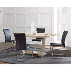 Have to have it. Steve Silver Mira 5 Piece Pedestal Dining Table Set with Upholstered Chairs - $878 @hayneedle