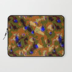 This canvas camouflage pattern is designed for those times when you want to be noticed. The original design is made of traditional camouflage shapes in muted colors, earth tones of tan, rust, light and olive drab greens. But throughout this are round shapes emerging through the camo in bright electric blue. The pattern has the texture of canvas.