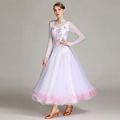 c0e08dec9 [$129.99] Ballroom Dance Dresses / Stage Props Women's Training / Performance  Spandex / Tulle / Georgette Appliques / Split Joint / Crystals /  Rhinestones ...