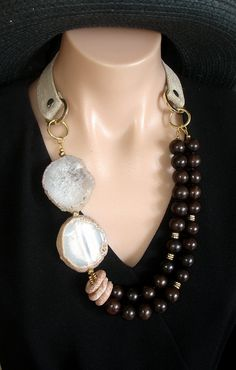 Ashira - Rare - Rich Black Ebony Wood, Agate Slabs and Hand Made Cotton Duck/Satin Collar from France - One of a Kind