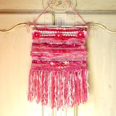 "Woven wall hanging, ""Girly"", shabby chic weaving,  pink and white tones, weaving of wool, linen, lace and frieze painted on cardboard by ChezPasserose on Etsy https://www.etsy.com/ca/listing/499858787/woven-wall-hanging-girly-shabby-chic"