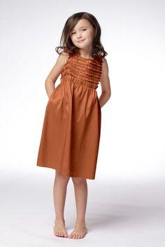 Copper flower girl dress.