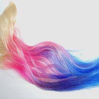 N O R T H E R N LIGHTS////6 Clip Ins -Pastel Rainbow / Tye Dye Hair/ Dip Dyed Tips / Pastel Pink-Purple-Blue on Blonde Hair Pastel Pink, Pink Purple, Blue, Dipped Hair, Dyed Tips, Pink Highlights, Dye Hair, Blonde Hair, Hair Beauty