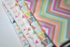 pinwheels  - pastel fabric - fat quarter - triangle fabric - geometric fabric. $9.00, via Etsy.