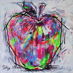 "Saatchi Art is pleased to offer the painting, ""Electric apple,"" by Yuliya Vladkovska. Original Painting: Acrylic, Ink on Canvas. Apple Painting, Fruit Painting, Autumn Painting, Painting & Drawing, Gcse Art Sketchbook, Sketching, Veggie Art, 8th Grade Art, Apple Art"