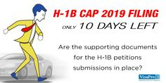10 Day H1B Cap Red Alert: Prepare #H1B documents package including certified LCA, signed USCIS forms & support letter, education credentials, client engagement letters and #USCIS Fee. #immigration #h1bvisa