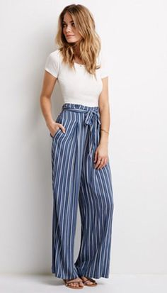 Spring and Summer Fashion Inspiration | Loving these higher waisted pant with a tie/ bow #fashion #outfit #summerstyle