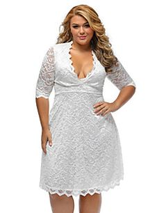 Women's+Lace+Scalloped+Trim+Plus+Size+Lace+Dress+–+USD+$+22.99