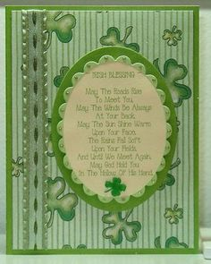 outside of handmade St. Patrick's Day card with an Irish blessing ... computer generated ... monochromatic green ...