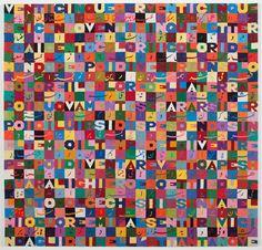 """Alighiero Boetti, Untitled (Venticinque per venticinque), embroidery on fabric, 41 1/2 x 43 x 1 1/8"""""""