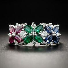 Platinum Multi-Color Gemstone And Diamond Ring - 1 Small Diamond Rings, Bold Rings, Rings Cool, Green Diamond, Diamond Gemstone, Gemstone Jewelry, Engagement Rings On Finger, Three Stone Engagement Rings, Heart Jewelry