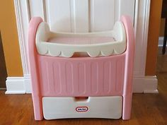 Vintage Little Tikes Pink Doll Size Crib / Changing Table & Storage Box Nice