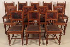 Schon 12 Gründerzeit Stühle Mit Wappen Epoche : Gründerzeit Holzart : Eiche Maße  : Höhe 100 Cm, Breite 44 Cm, Tiefe 50 Cm, Sitzhöhe 50 Cm Kennung : Nr. 1821