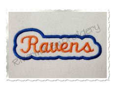 $2.95Applique Ravens Team Name Machine Embroidery Design