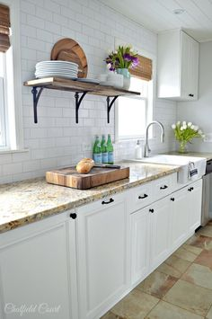 Heritage Floating Wall Shelf - Modern Rustic Farmhouse shelves, Book Shelf, Bathroom Shelf, Wood (My dream Kitchen! White Kitchen Cabinets, Kitchen Cabinet Design, Kitchen Backsplash, Backsplash Ideas, Wood Cabinets, Dark Cabinets, Kitchen Countertops, Kitchen Flooring, White Tile Backsplash