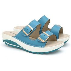 women's open beach sandals size 6 SKY BLUE ** More info could be found at the image url.