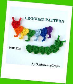 Crochet Caterpillar Applique | YouCanMakeThis.com