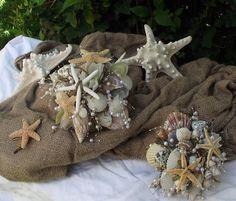 sea shell bride bouquet beach wedding bouquet by UptownGirlzz, $114.50