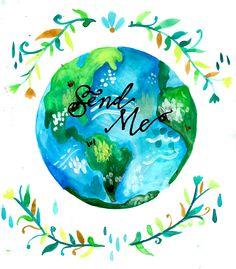 send me // globe watercolor painting //