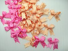 Polka Dot Satin Ribbon Bows Orange and Pink for Perfect Diy- Applique, Scrapbook, Card Trims Craft- 7 Mm. 40 Pcs. * Click on the image for additional details.