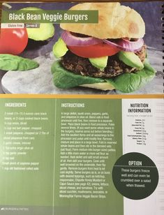 Whole Food Recipes, Healthy Recipes, Black Bean Veggie Burger, First Health, Cooking Black Beans, Nutrition Information, Serving Size, Organic Recipes, Veggies