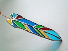 Green glass feather 6 inches