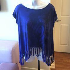 Blue Jessica Simpson Fringe Top Blur and black fringe top lose fit! Great condition Jessica Simpson Tops Tees - Short Sleeve