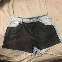 Minkpink denim and leather shorts Minkpink denim and leather shorts, never worn. MINKPINK Shorts Jean Shorts