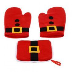 Guantes 3PCS mitones del horno microondas a prueba de calor Cojín de olla Diseño de Navidad guantes para hornear de cocina