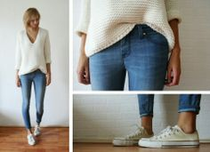 Over-Sized Sweater and  Light Blue Jeans with Suitable Stylish Shoes