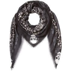 Zadig & Voltaire Printed Scarf ($135) ❤ liked on Polyvore featuring accessories, scarves, black, fringe scarves, zadig & voltaire, skull scarves, lightweight scarves and black scarves