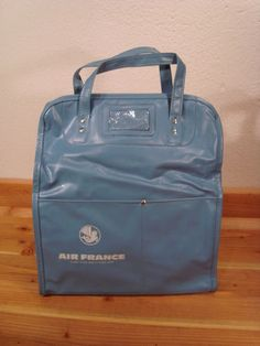 Vintage Bearse Air France Blue Vinyl Tote Travel Airlines Flight Bag Carry On Air Travel, Travel Tote, Flight Bag, Airline Flights, Air France, Vintage Bags, Suitcase, Cabin, Blue