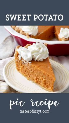 This sweet potato pie recipe uses vanilla pudding for the best ever flavor and texture. Learn how to make the best homemade sweet potato pie recipe from scratch! It's one of our best potato recipes! Homemade Sweet Potato Pie, Vegan Sweet Potato Pie, Sweet Potato Dessert, Homemade Pie, Recipe For Sweet Potatoe Pie, Southern Sweet Potato Pie, Sweet Potato Pie Filling, Sweet Potato Pudding, Best Potato Recipes