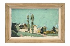 Scenic oil painting by Henri Seigle (1907-1995).  France, circa 1975.