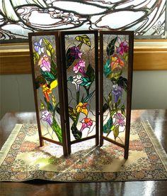 Dollhouse Miniature 1:12 Scale Artisan Leaded Glass Room Screen