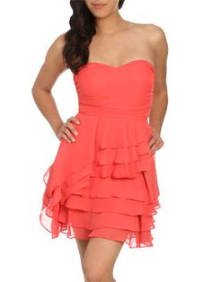 LOVE this dress for a bridesmaid, and the coral color is gorgeous--- STORES NEAR US-real possibility!!!