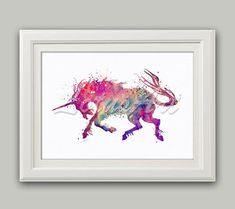 Purple Unicorn Wall Art Unicorn Watercolor Print Unicorn Nursery Art Unicorn Decor Unicorn Art Fantasy Wall Art Purple Unicorn Kids Prints