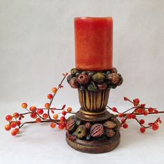 vintage Florentine candlestick in rich by sophisticatedflorida