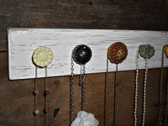 Necklace Holder with 5 Yellow and Gray Knobs by TheBarnOwlBoutique, $30.00