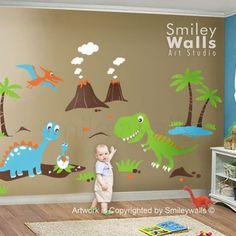 dinosaur wall decals for nursery | Dino Dinosaurs Land HUGE Set Nursery Kids Playroom Vinyl Wall Decal ...