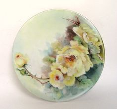 T & V Limoges France Hand Painted Plate, Yellow Roses, Vintage China /45