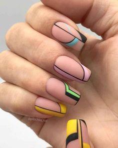 Chic Nails, Dope Nails, Stylish Nails, Trendy Nails, Swag Nails, Nail Design Glitter, Nail Design Spring, Yellow Nails, Pink Nails