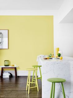 Colours Featured: Dulux Citrino and Dulux Vivid White.