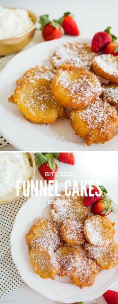 How to Make Bite-Sized Funnel Cake Recipe - Bite-Sized-Funnel-Cake-Bites-Recipe-Carnival-Fair-Food - Mini Desserts, Just Desserts, Delicious Desserts, Yummy Food, Bite Sized Desserts, Yummy Treats, Sweet Treats, Yummy Yummy, Delish